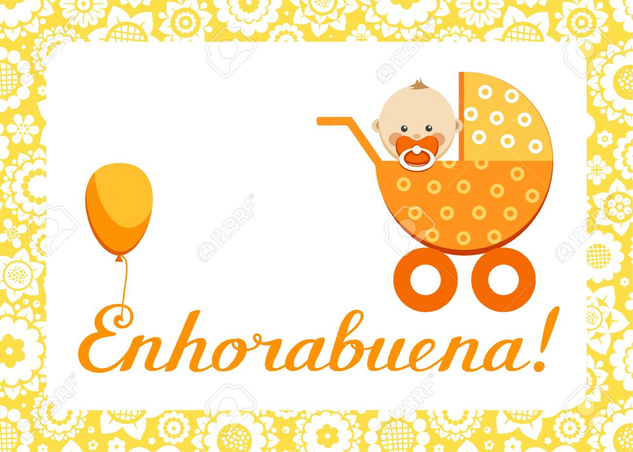 Congratulations New Baby Greeting Card Spanish Vector In