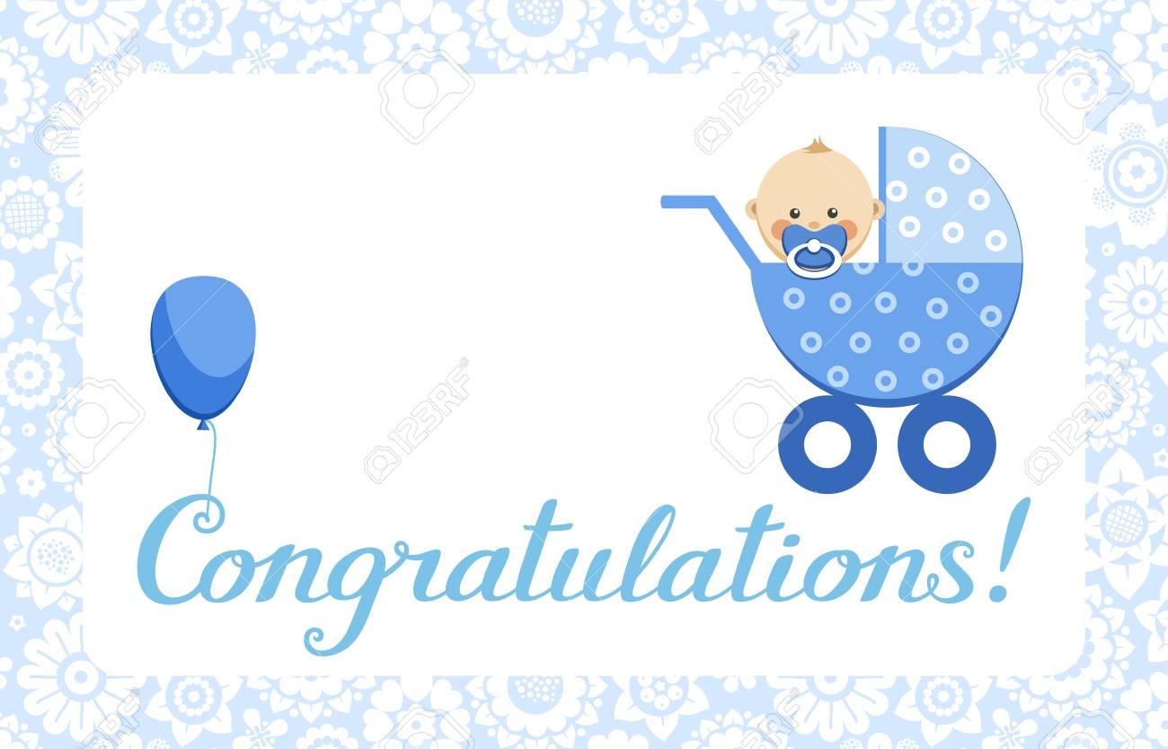 congratulations baby boy card english vector in the blue