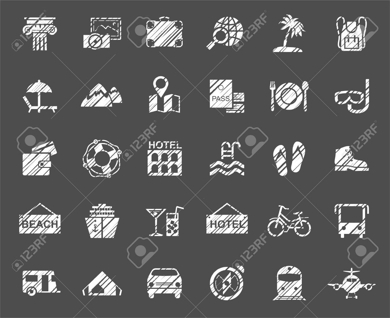 Travel Vacation Tourism Vacation Icons Pencil Shading Vector Royalty Free Cliparts Vectors And Stock Illustration Image 106340807