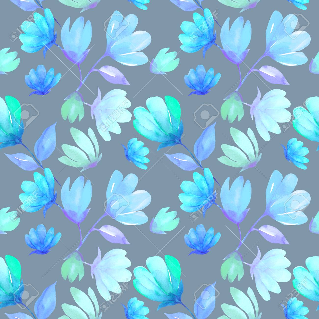 Floral Seamless Pattern Watercolor Blue Spring Flower Magnolia
