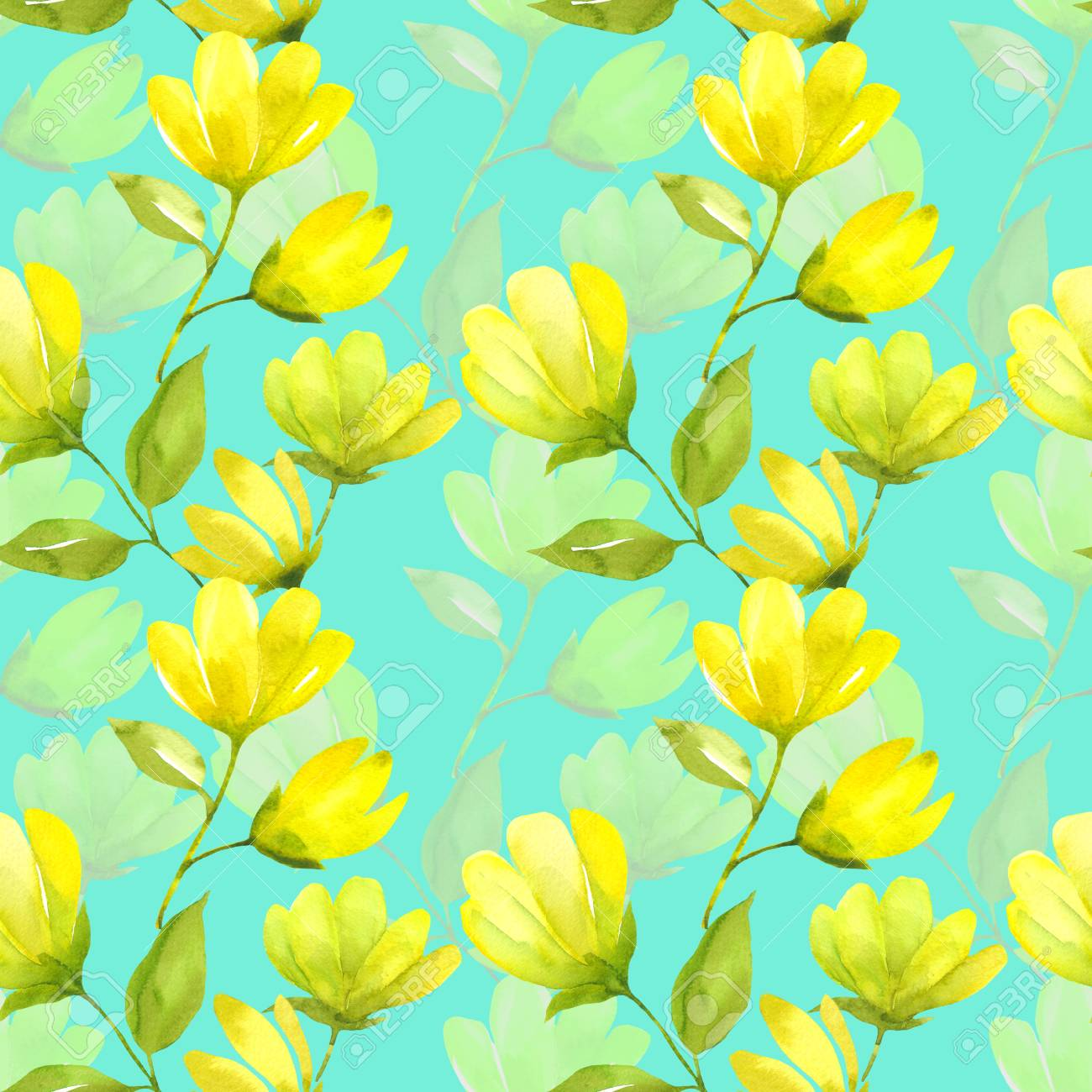 Floral seamless pattern watercolor yellow spring flower magnolia floral seamless pattern watercolor yellow spring flower magnolia spring background with beatifull yellow flowers mightylinksfo Gallery