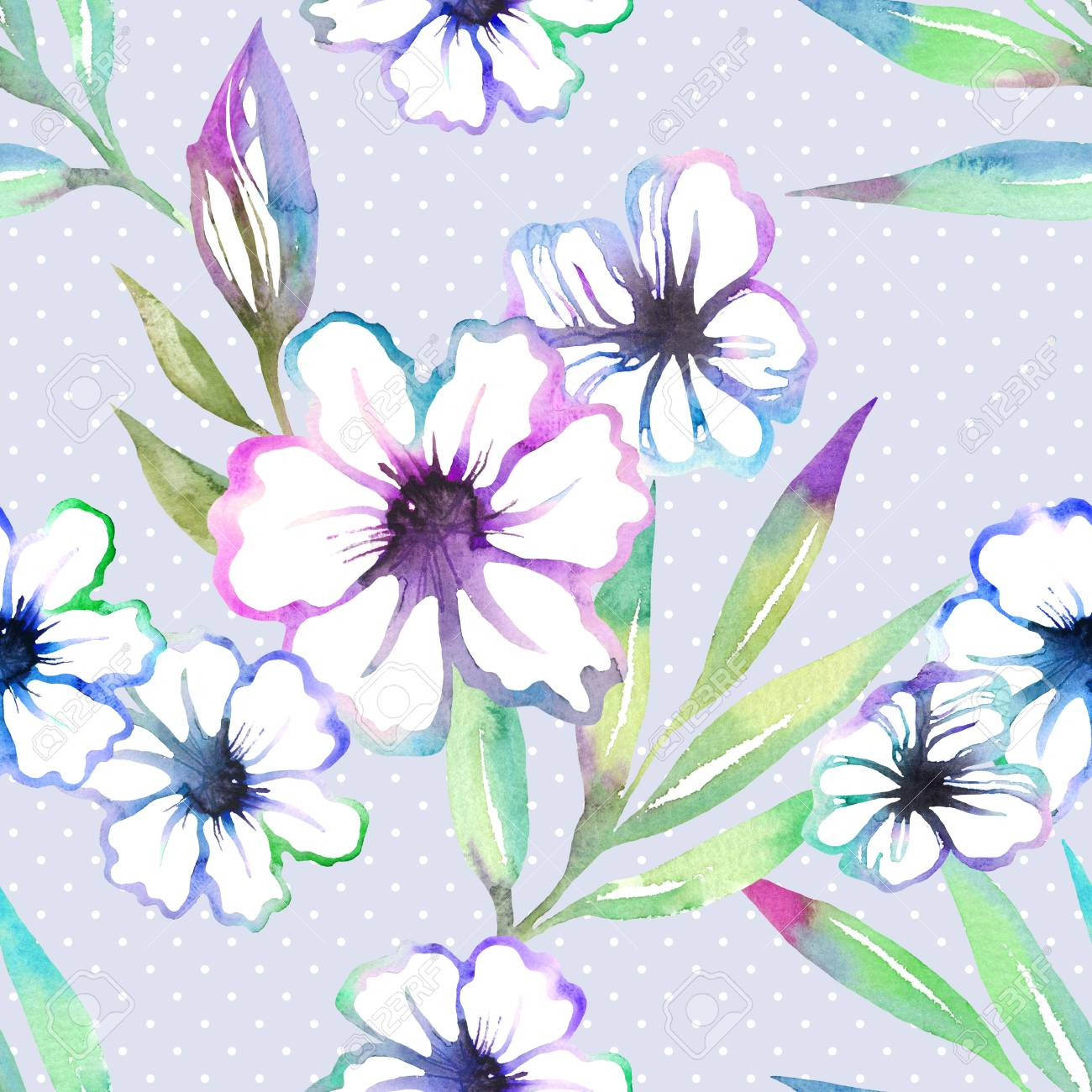 Nahtloses Mit Blumenmuster Mit Nettem Sommer Blüht Aquarell Süße