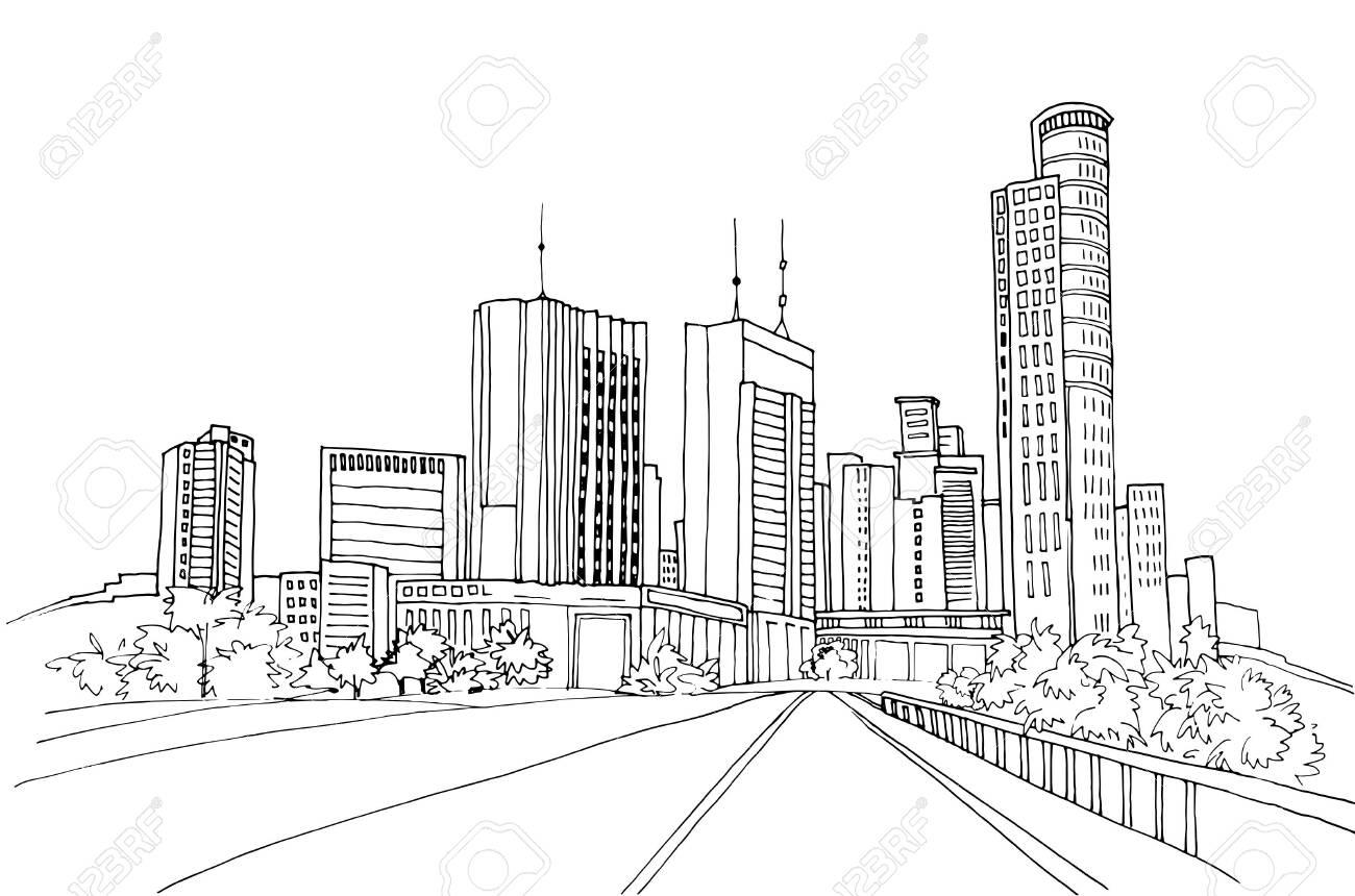 Modern urban landscapes. Hand drawn line sketches. Tel Aviv, Israel. Vector illustration on white - 124428341