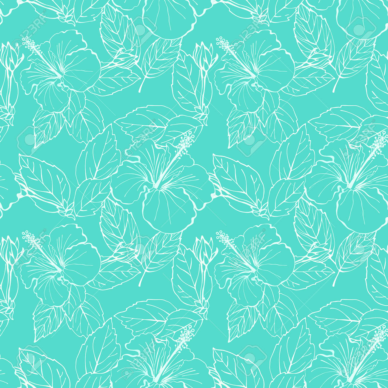 Hibiscus flower seamless pattern. Hand drawn sketch style. Line art. Mallow Chinese Rose. Herbal tea. Hawaii. Tropical background for paper, textile, wrapping and wallpaper. - 169116812