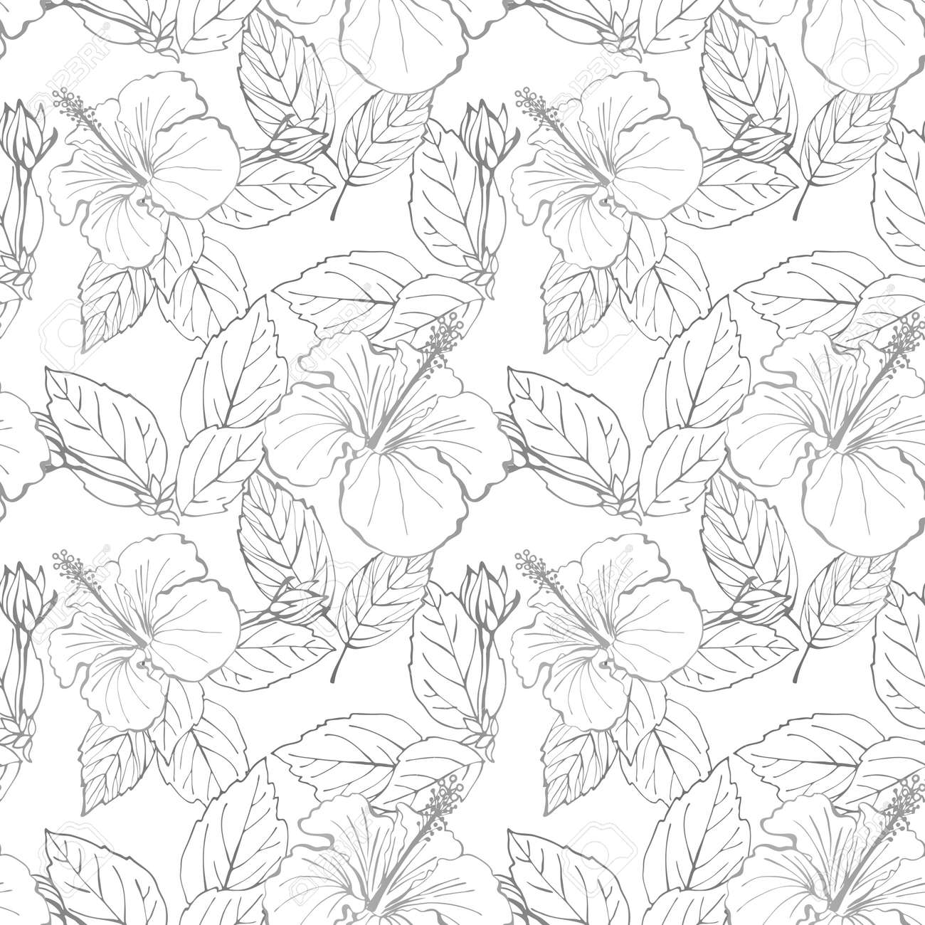Hibiscus flower seamless pattern. Hand drawn sketch style. Line art. Mallow Chinese Rose. Herbal tea. Hawaii. Tropical background for paper, textile, wrapping and wallpaper. - 169116811