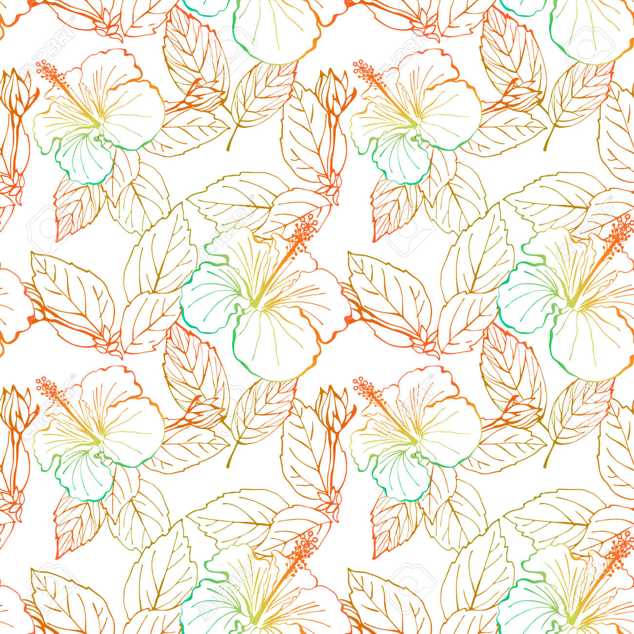 Hibiscus flower seamless pattern. Hand drawn sketch style. Line art. Mallow Chinese Rose. Herbal tea. Hawaii. Tropical background for paper, textile, wrapping and wallpaper. - 169116820