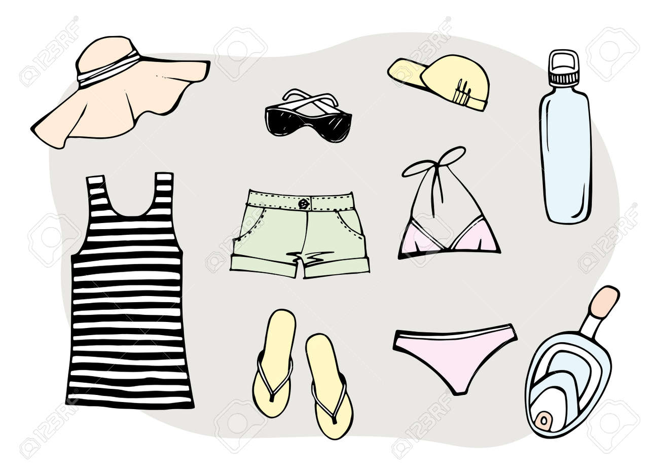 Most popular clothing on vacation. Summer beach set. Striped sleeveless tank top, sun hat, sunglasses, slippers, swimsuit and summer shorts. Hand drawn sketch. Colorful Vector illustration on white. - 169460676