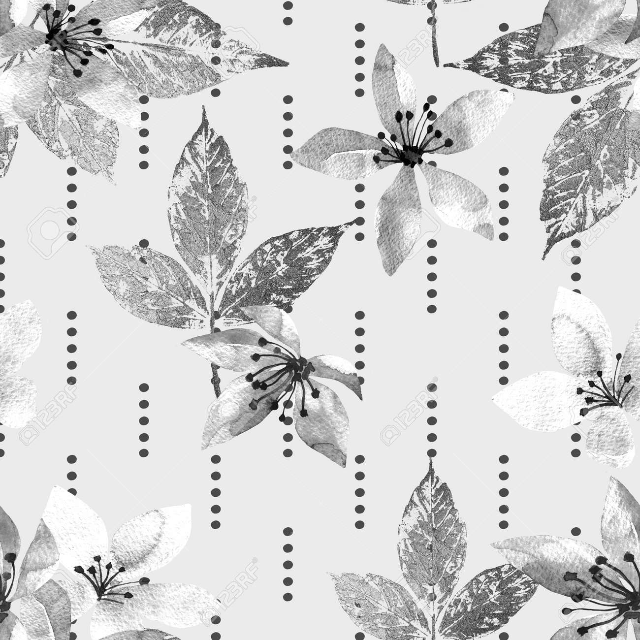 Floral seamless pattern with abstract leaves and flowers watercolor. Art illustration in hand painting style. Nature background. - 169460683