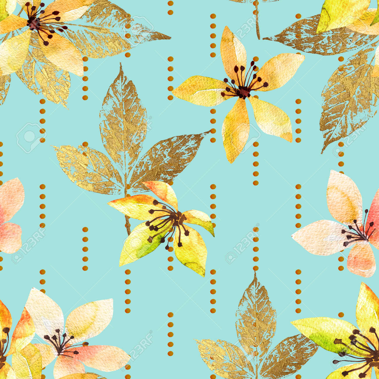 Floral seamless pattern with abstract leaves and flowers watercolor. Art illustration in hand painting style. Nature background. - 169460681