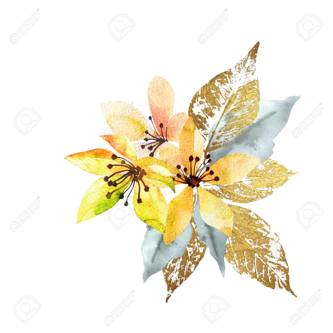Bouquet flowers watercolor with leaves gold. Hand drawn style watercolor. Nice summer background. - 169460680