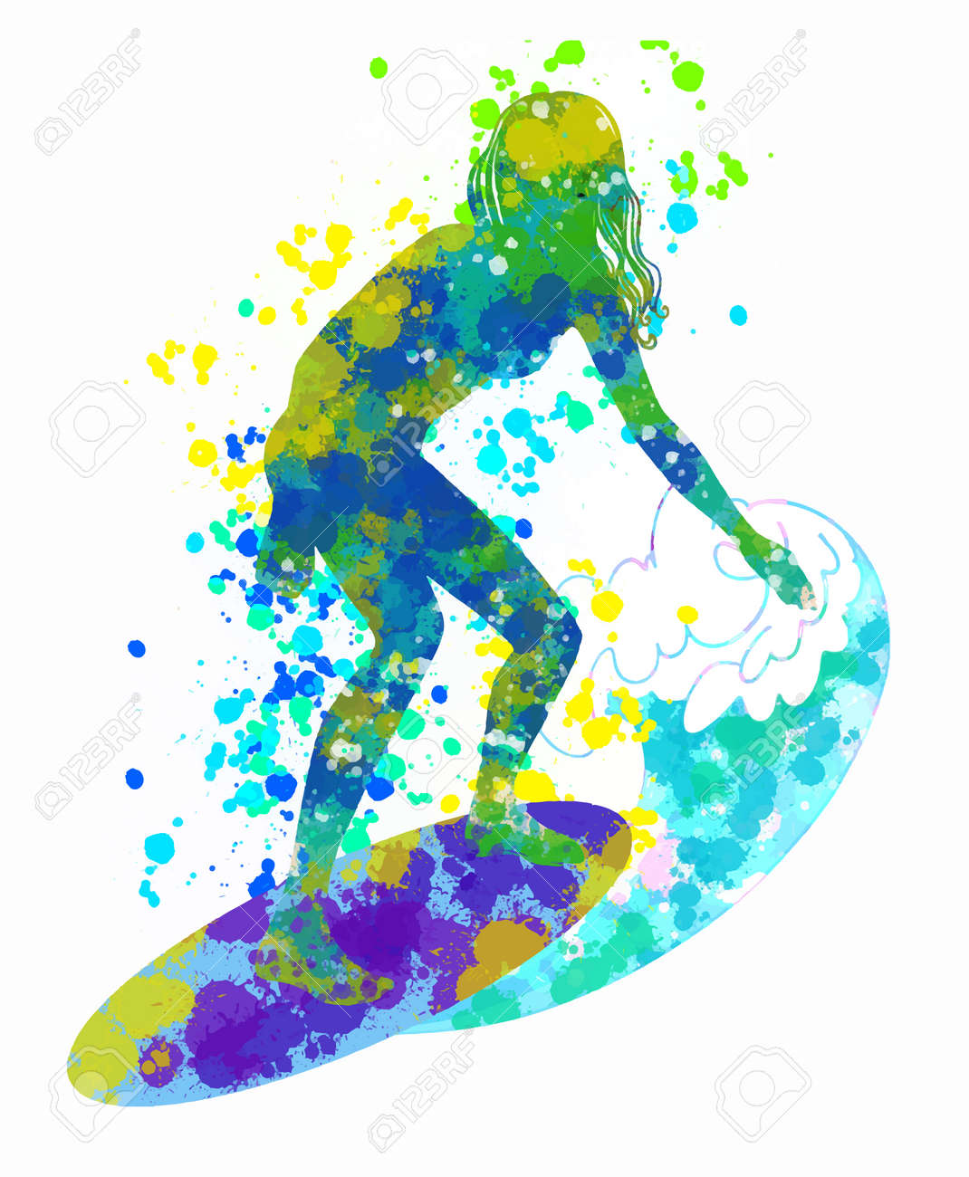 Girl surfer on a surfboard. Colorful digital splash and blobs texture. Hand drawn sketch. Vector illustration. - 169460686