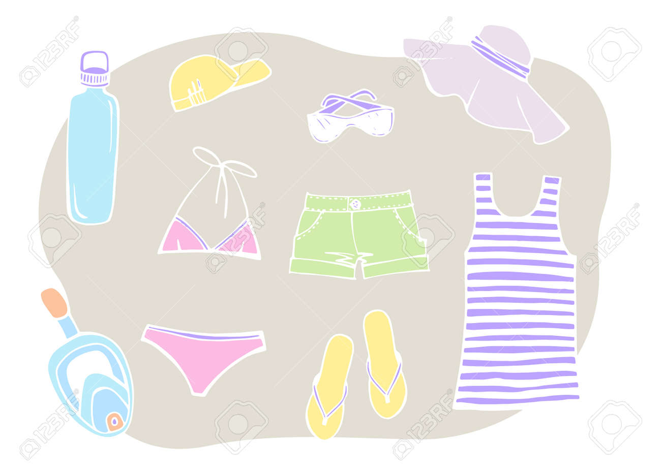 Most popular clothing on vacation. Summer beach set. Striped sleeveless tank top, sun hat, sunglasses, slippers, swimsuit and summer shorts. Hand drawn sketch. Colorful Vector illustration on white. - 169460698