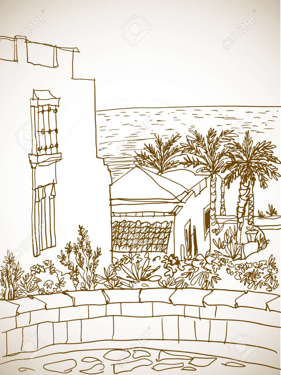 Beautiful Egypt landscape with palm trees. Hand drawn line ink sketch. Seaside holiday. Sepia Illustration on white. - 170062887