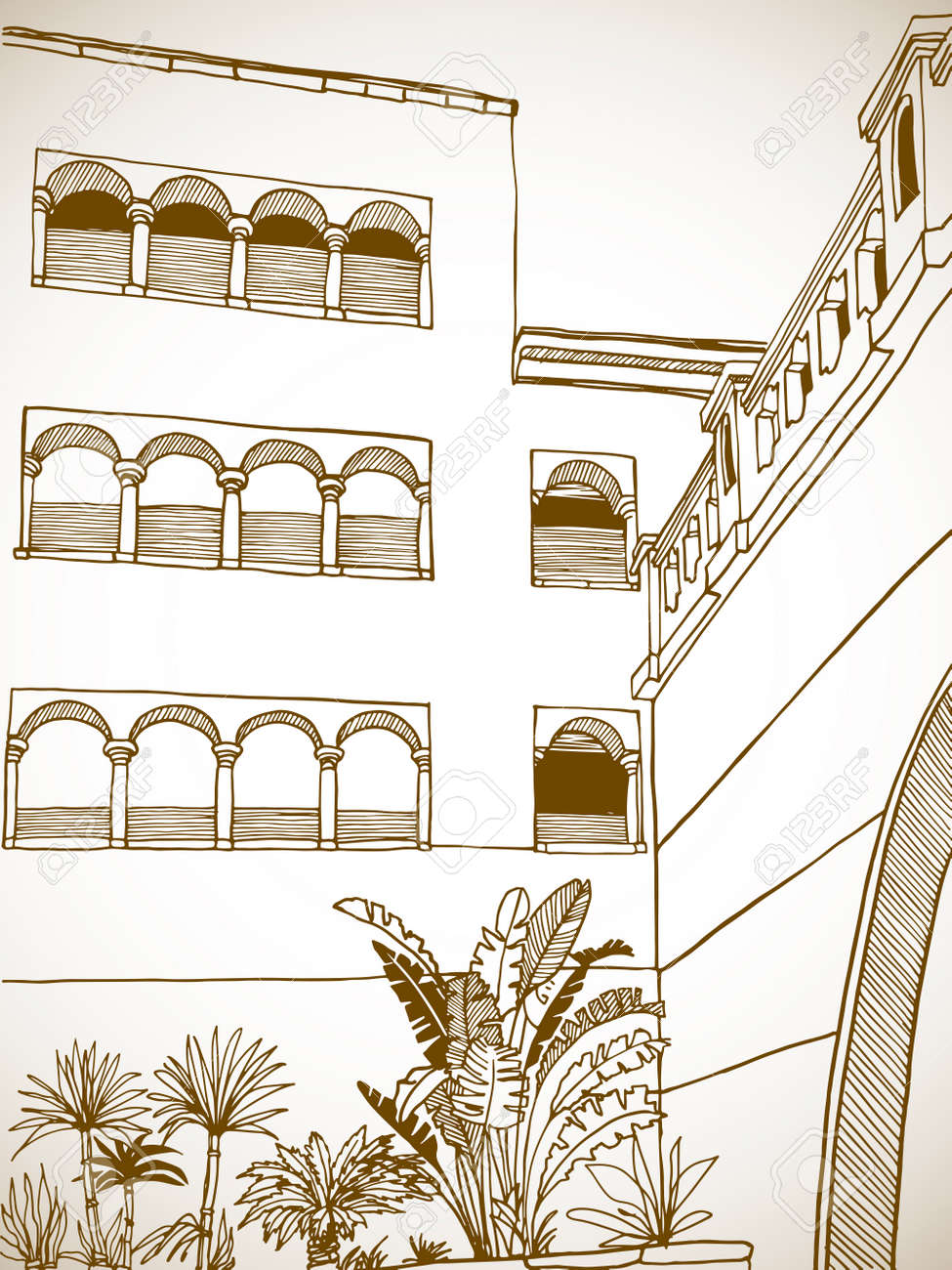 Beautiful Egypt landscape with palm trees. Hand drawn line ink sketch. Seaside holiday. Sepia Illustration on white. - 170062888