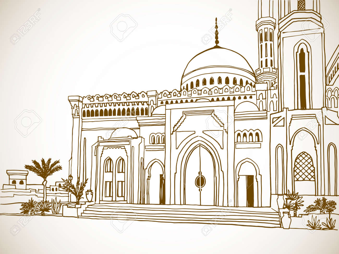 Beautiful muslim mosque in Egypt. Nice Egyptian landscape. Hand drawn sketch. Sepia color Urban background. Vintage postcards style. - 170062886