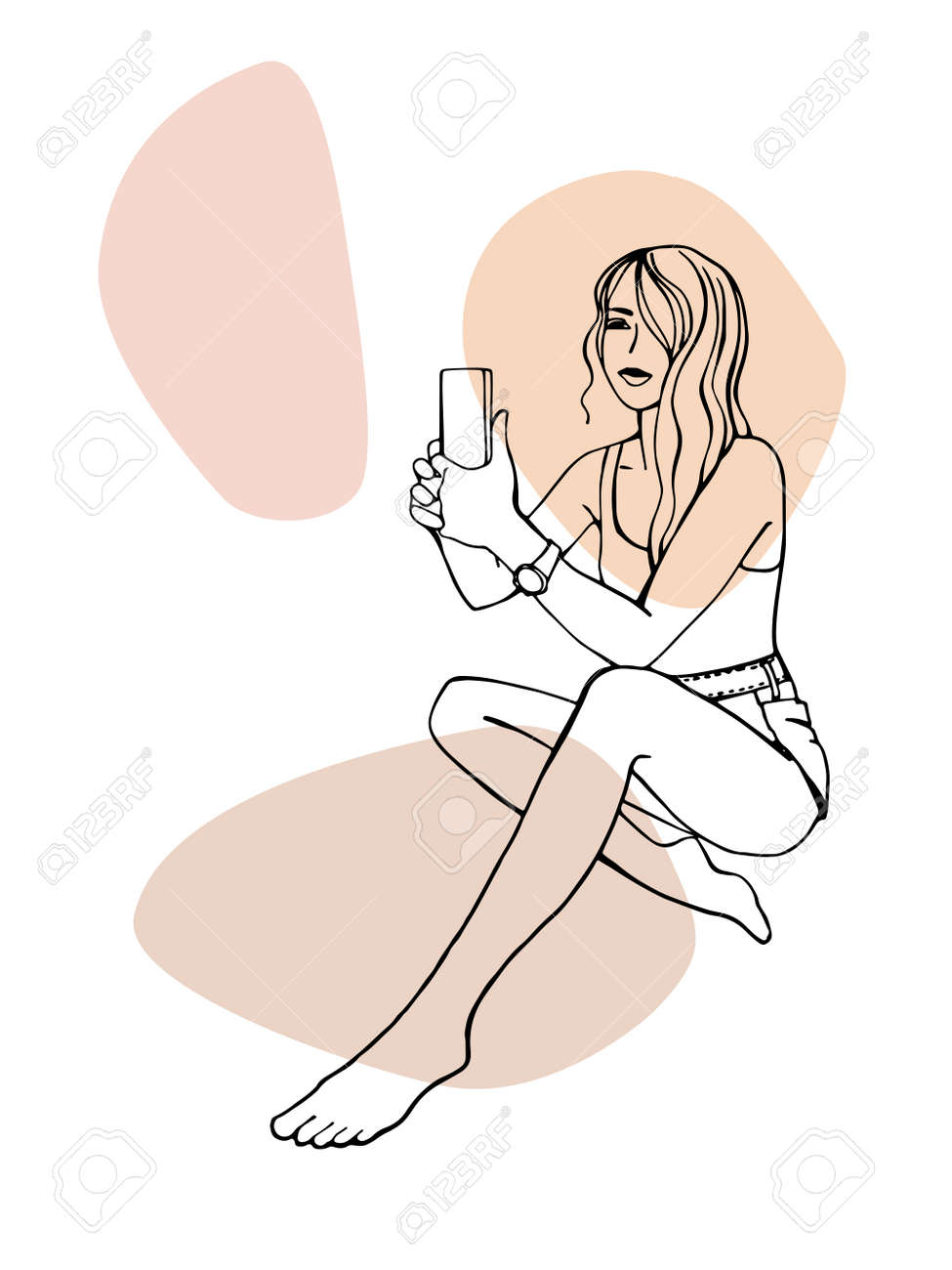 Pretty girl on the beach takes pictures by phone. Hand drawn line sketch. Ink drawing. Isolated on white background. Trendy colors blobs. - 170750914