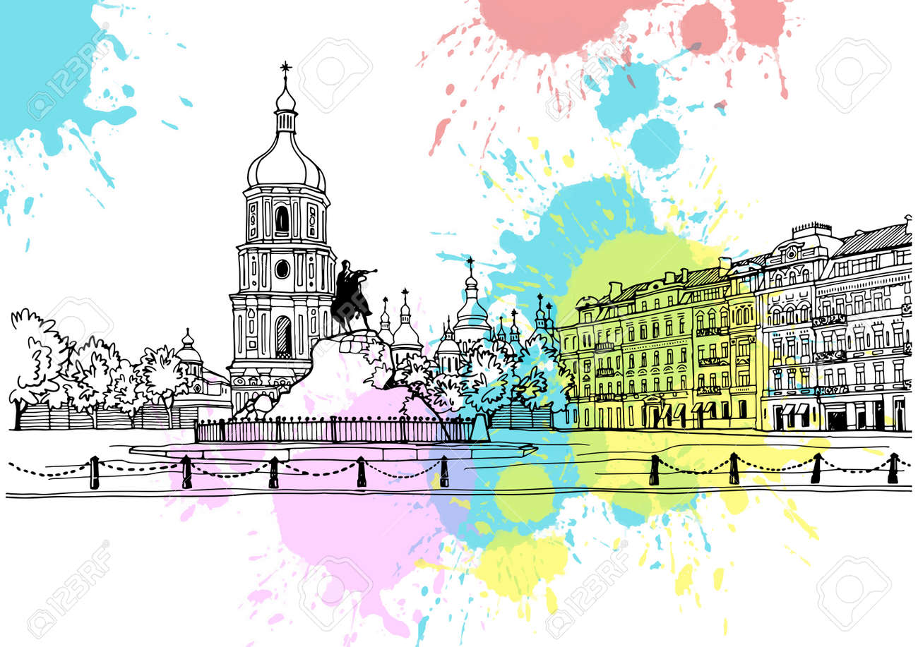 Vintage postcard style. Urban landscape in hand drawn sketch style. Nice cityscape of old Kiev, Ukraine. Ink line sketch. Vector illustration in sepia. - 170807230