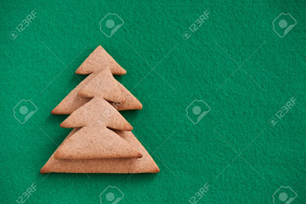 Christmas Tree Biscuits Green Background Delicious Dessert