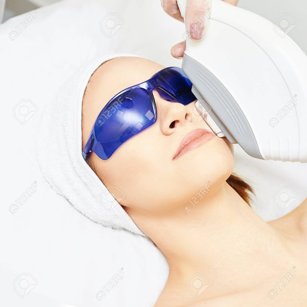 Laser facial hair removal  Cosmetology ipl device  Woman body