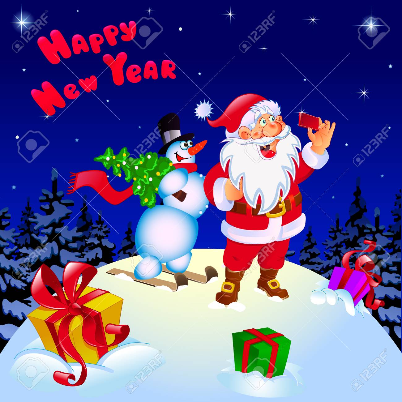 Frohe Weihnachten Und Ein Glückliches Neues Jahr. Glückwunsch. Sankt ...