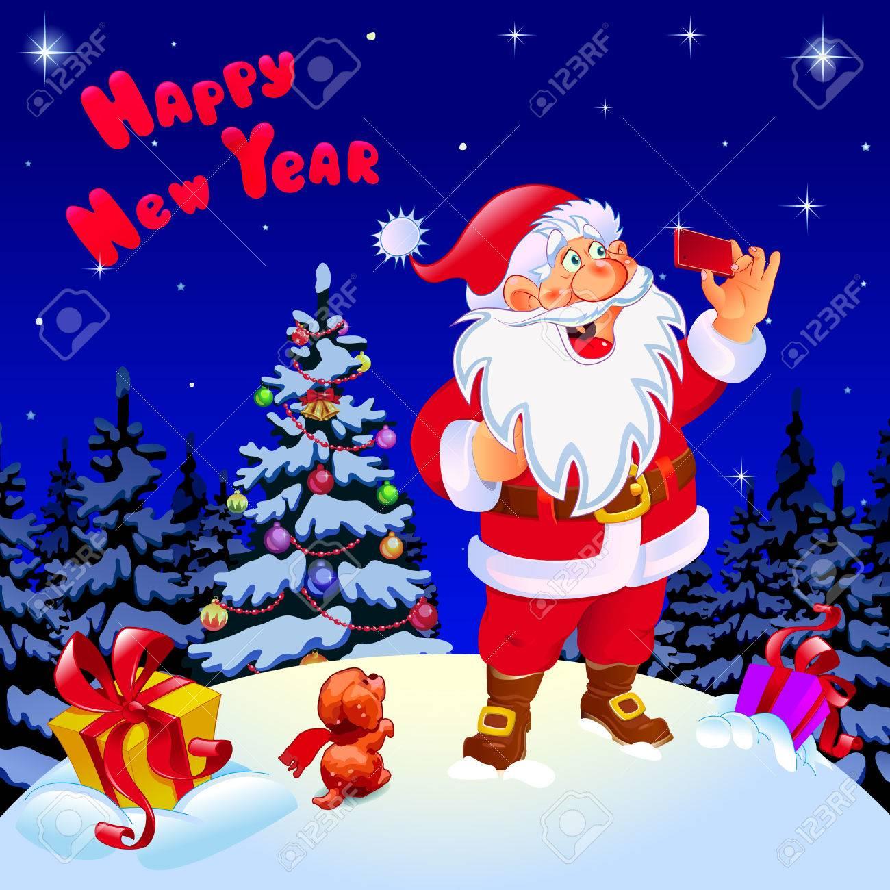 Frohes Neues Jahr. Glückwunsch. Sankt Und Schneemann, Die Selfie ...