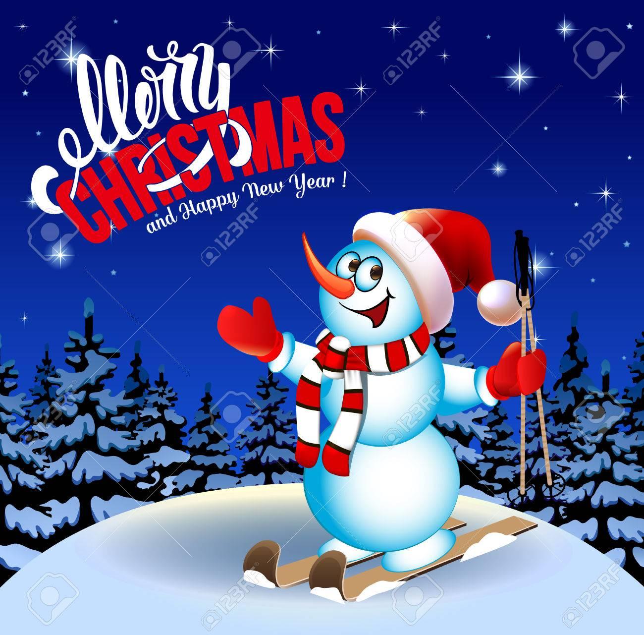 Joyeux Noël Et Bonne Année Félicitation Paysage D Hiver Bonhomme De Neige à Skis Dessin Animé Fond Outremer Saturé Illustration