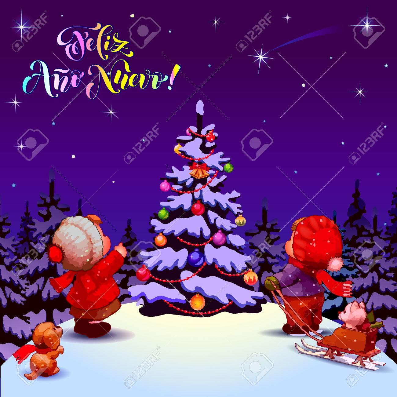 Happy New Year. Feliz Ano Nuevo. Congratulations In Spanish ...