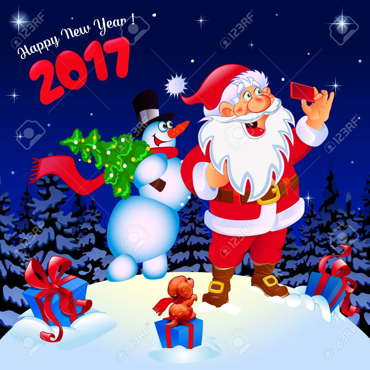 happy new year congratulation santa and snowman making selfie gifts color blue