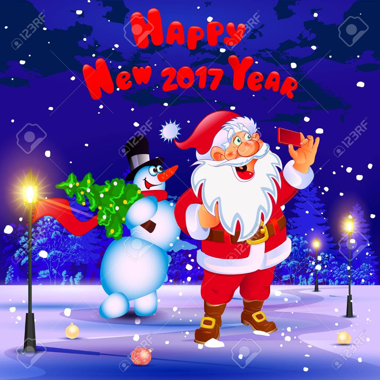 Frohes Neues Jahr. Glückwunsch. Weihnachtsmann Und Schneemann Machen ...