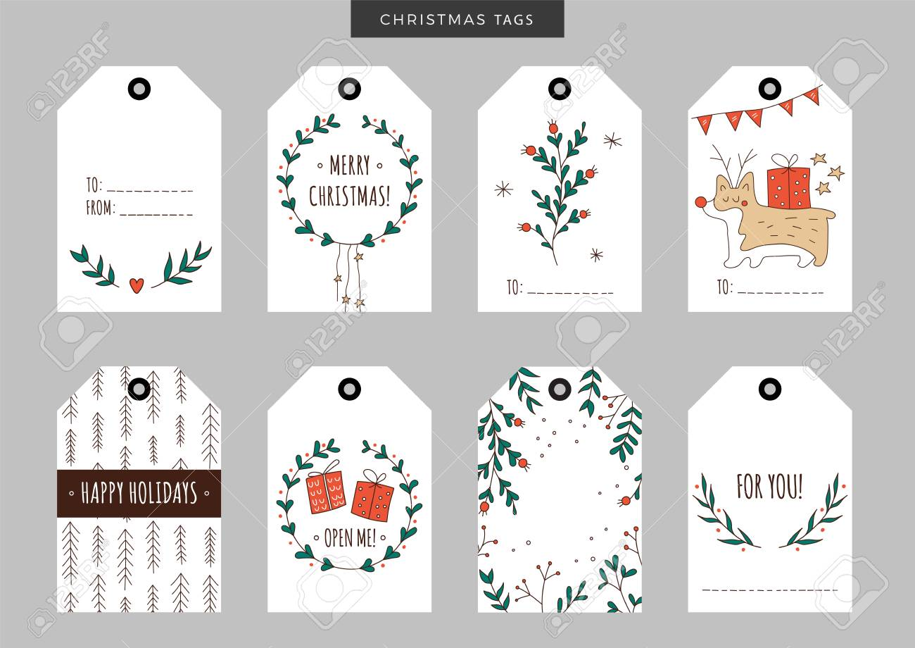 44bcc0a940b6e Set Of Christmas And New Year Holiday Gift Tags