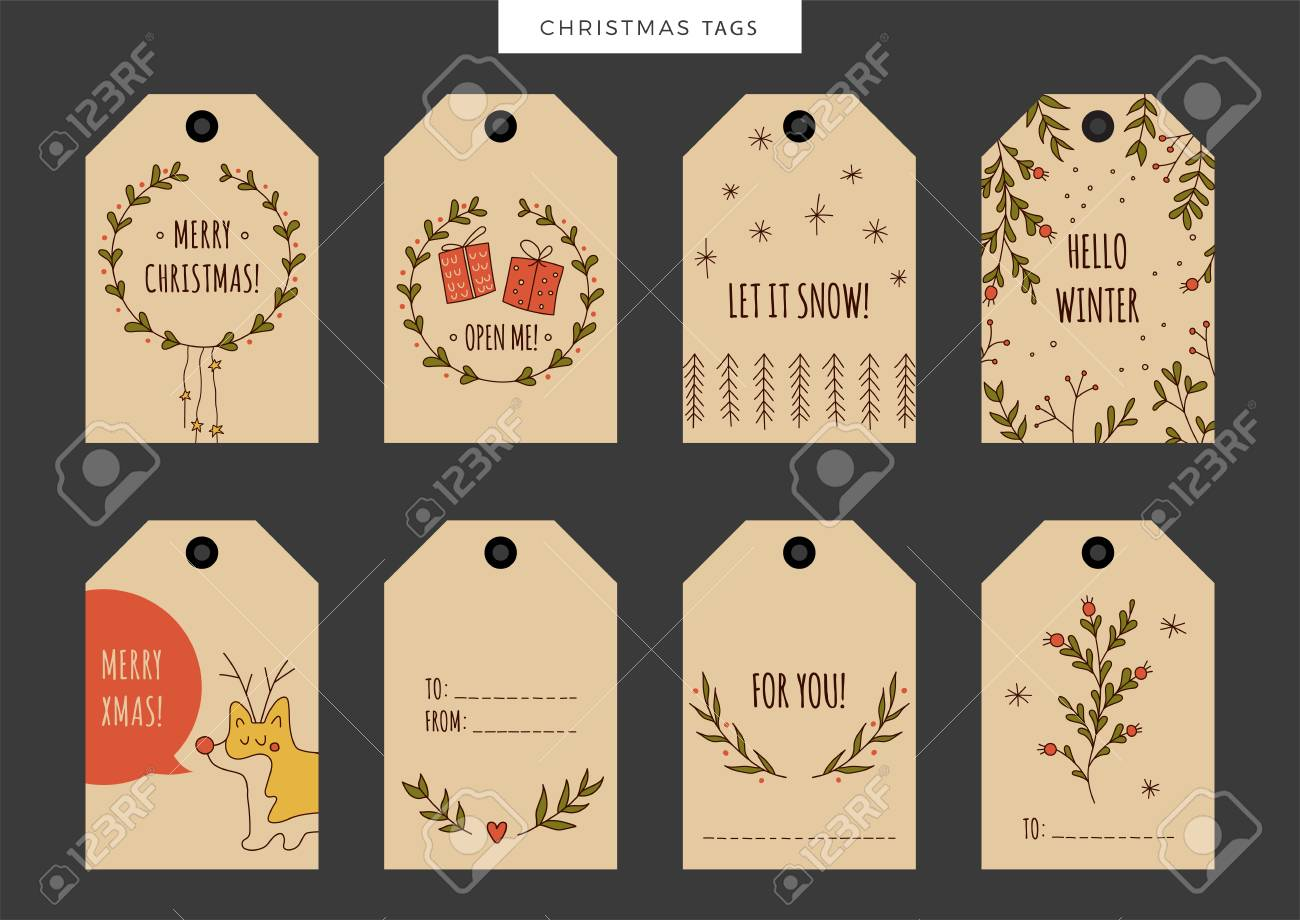 Set Of Vintage Christmas And New Year Holiday Gift Tags, Labels ...