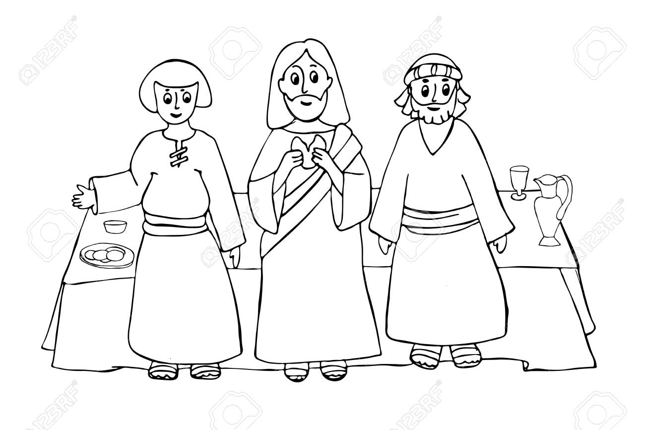 Jesus Christ With The Last Supper Hand Drawing Illustration Royalty Free Cliparts Vectors And Stock Illustration Image 144200587