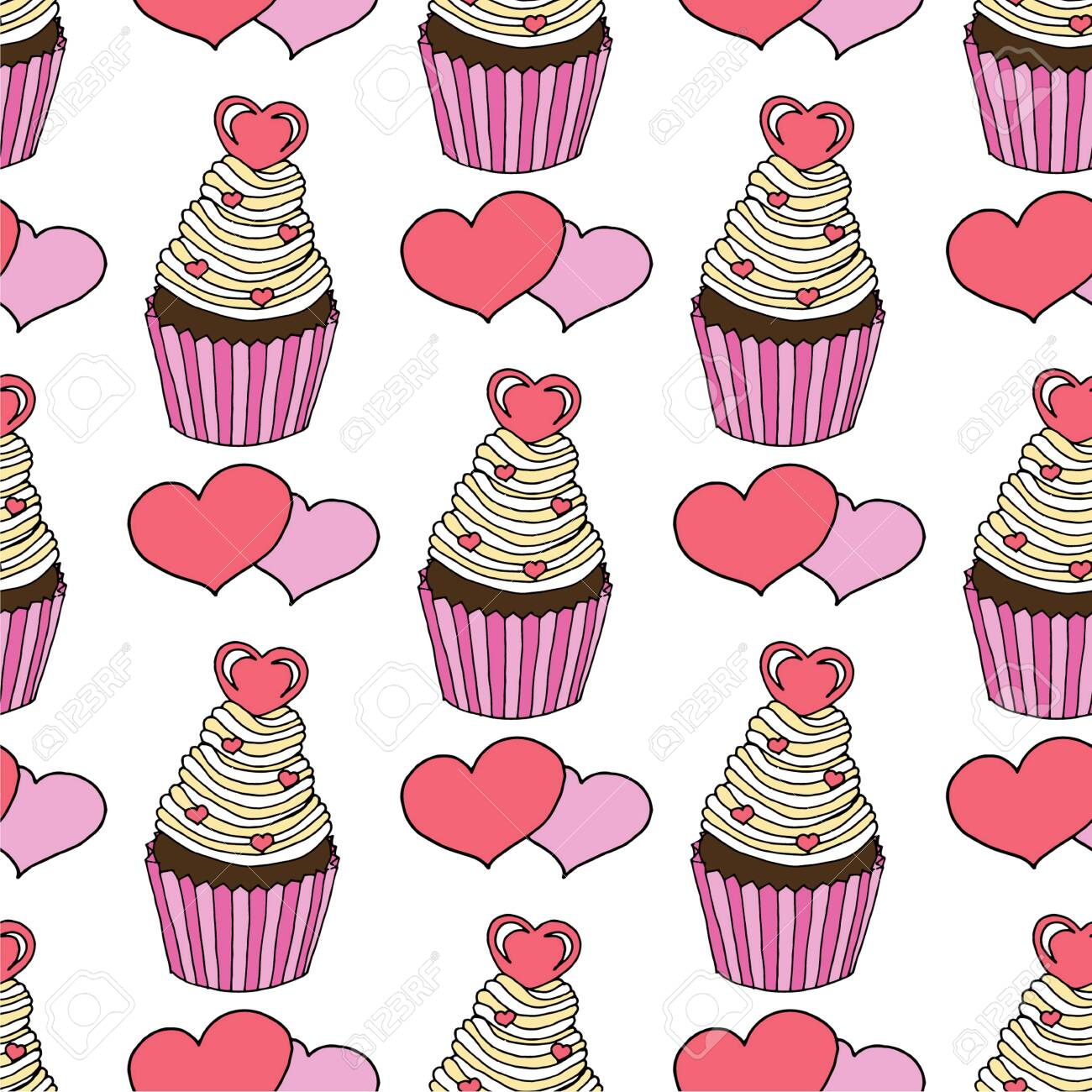 Vector graphic of the various sweets and desserts decorated into seamless pattern. Valentines day seamless pattern of hearts and cupcakes. Beautiful abstract pattern with Valentines day seamless pattern for decorative design. Logo element for wedding illustration. Vintage design. Greeting card. - 140032954