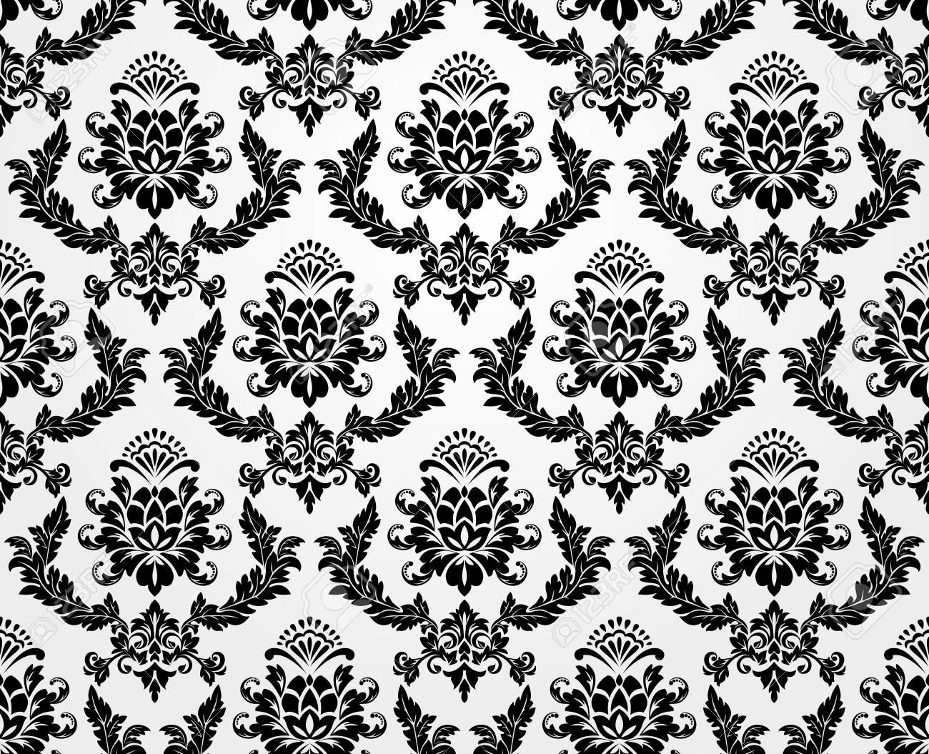 Floral Pattern Wallpaper Baroque Damask Seamless Vector Background