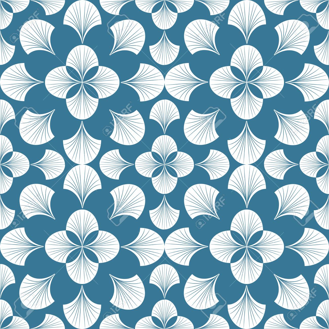 Floral Pattern Wallpaper Baroque Damask Seamless Vector Background Blue And White Ornament Graphic