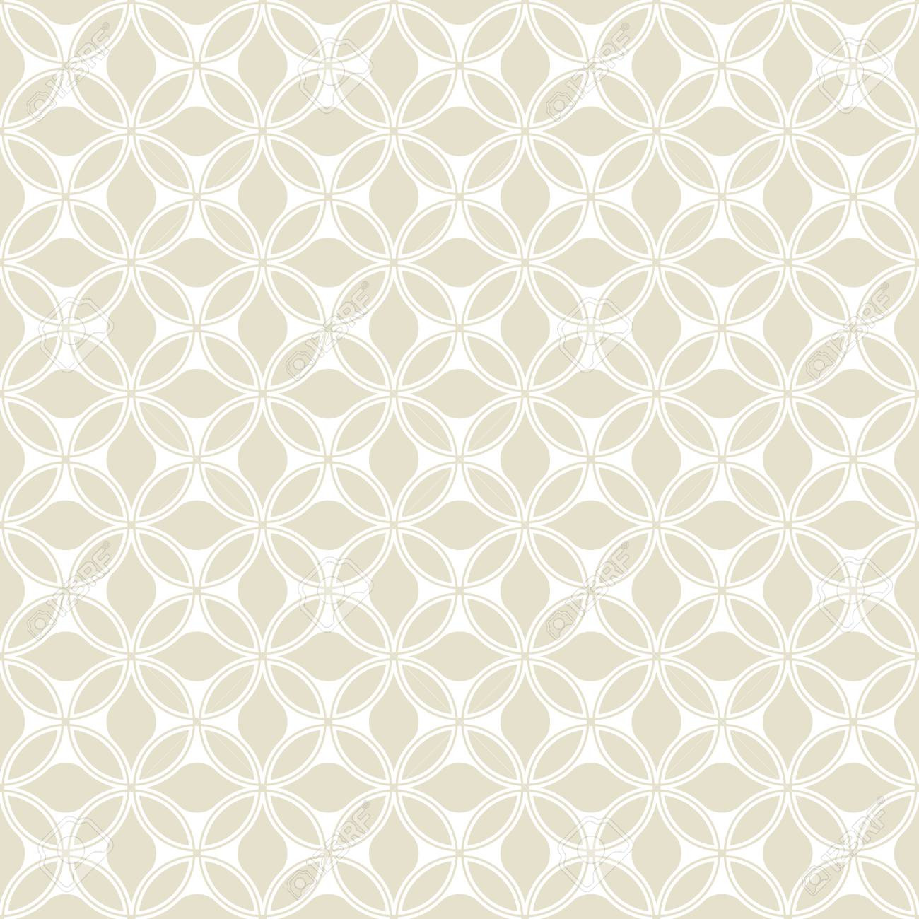 Floral Pattern Wallpaper Seamless Vector Background Beige And