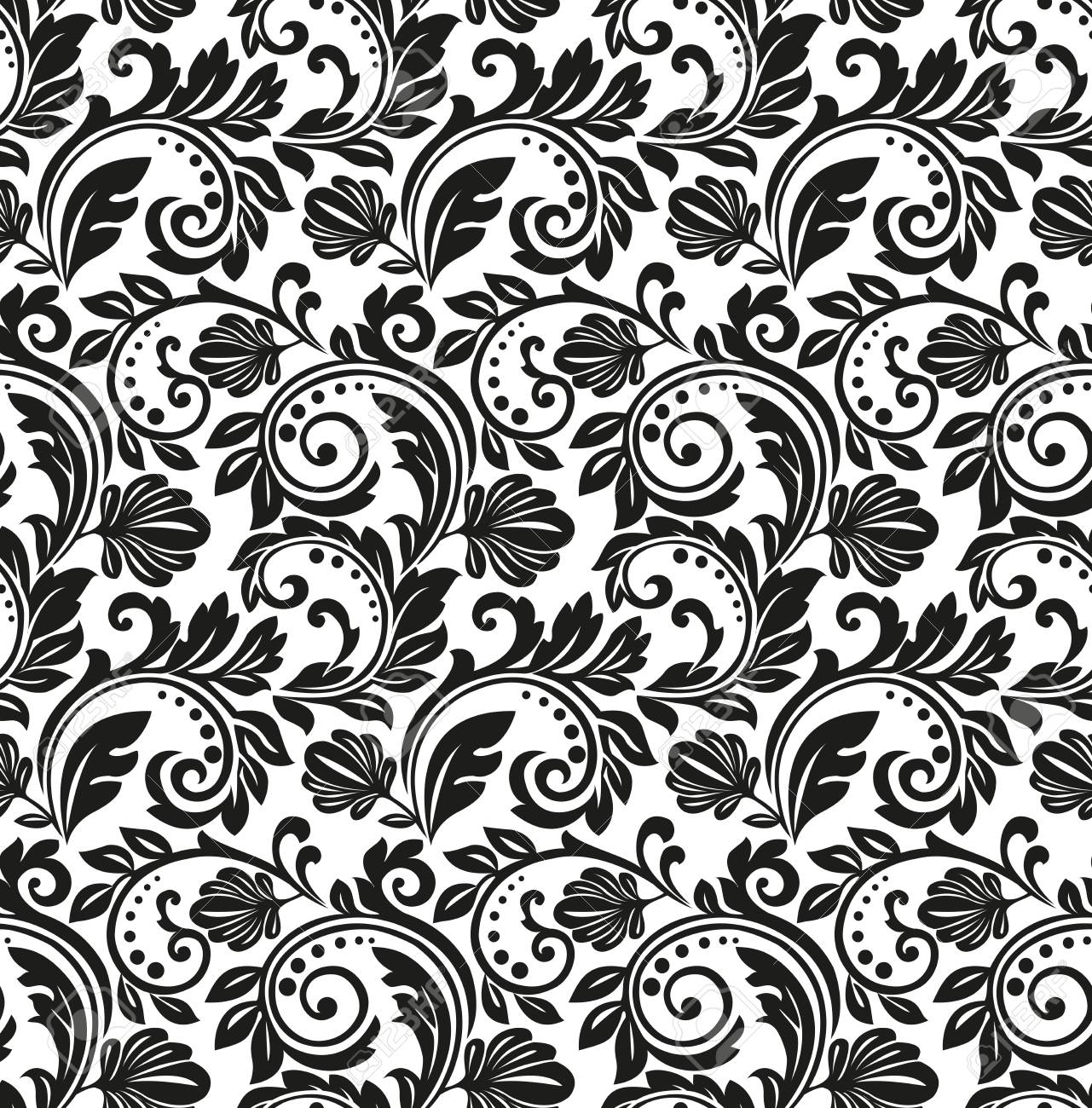 Vector Floral Pattern Background Black And White