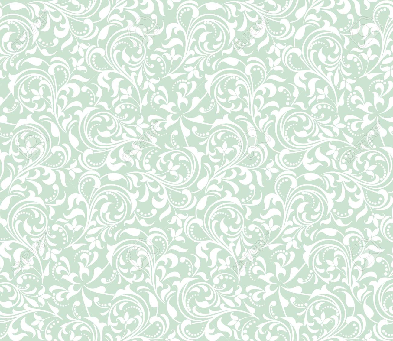 Floral Seamless Pattern Wallpaper Baroque Damask Vector Green And White Background Ornament Stock