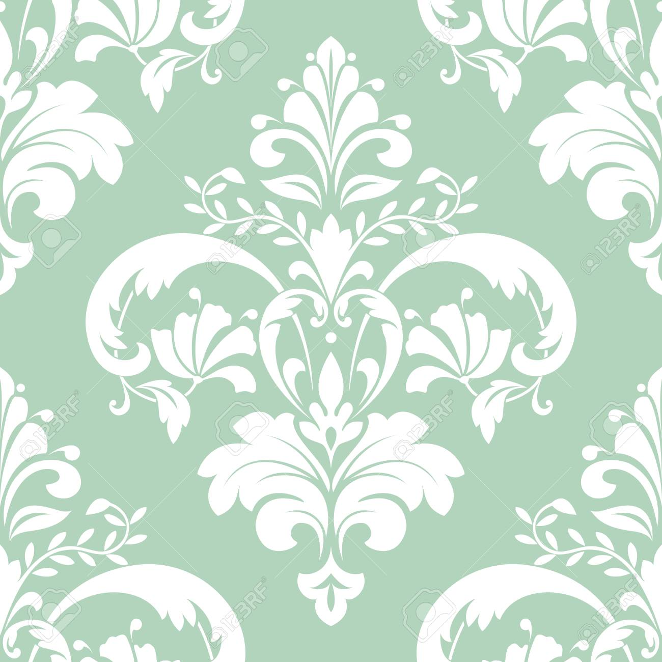 Floral Pattern Wallpaper Seamless Vector Background Green And White Ornament Graphic Modern