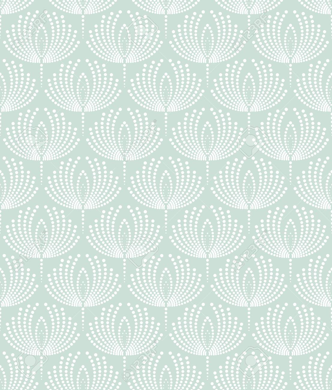 Floral Pattern With Points Wallpaper Seamless Vector Background Blue And White Ornament Foto