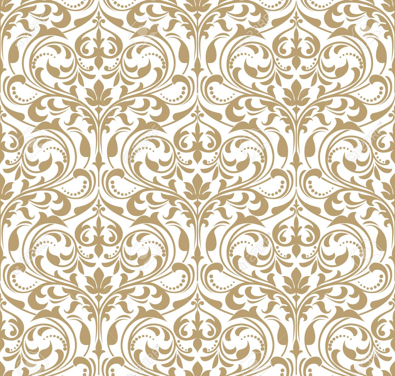 Floral pattern for Wallpaper baroque, damask seamless vector background in gold and white ornament. - 95251473