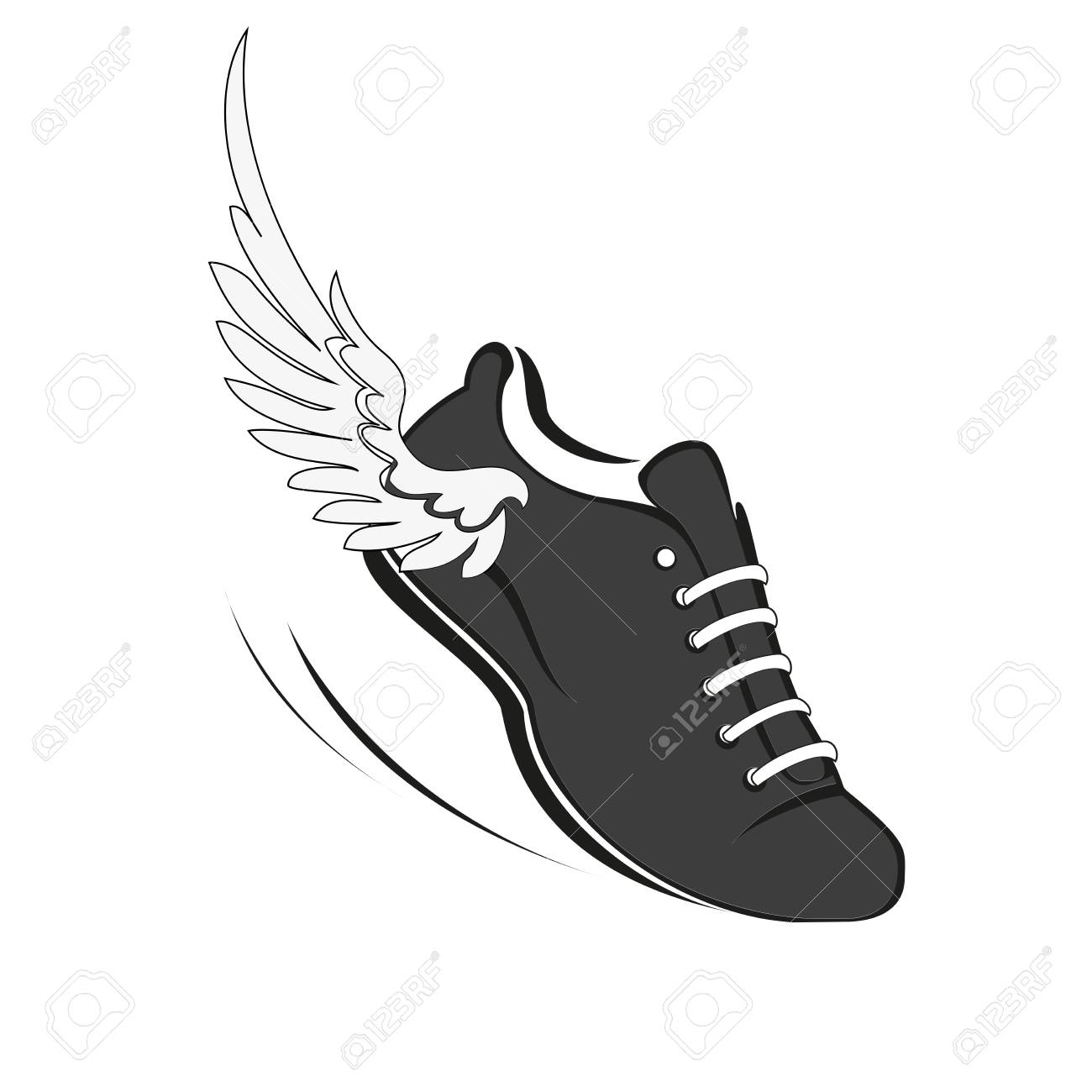Sports shoes for running, running shoe with a wing. Vector Illustration - 95342395