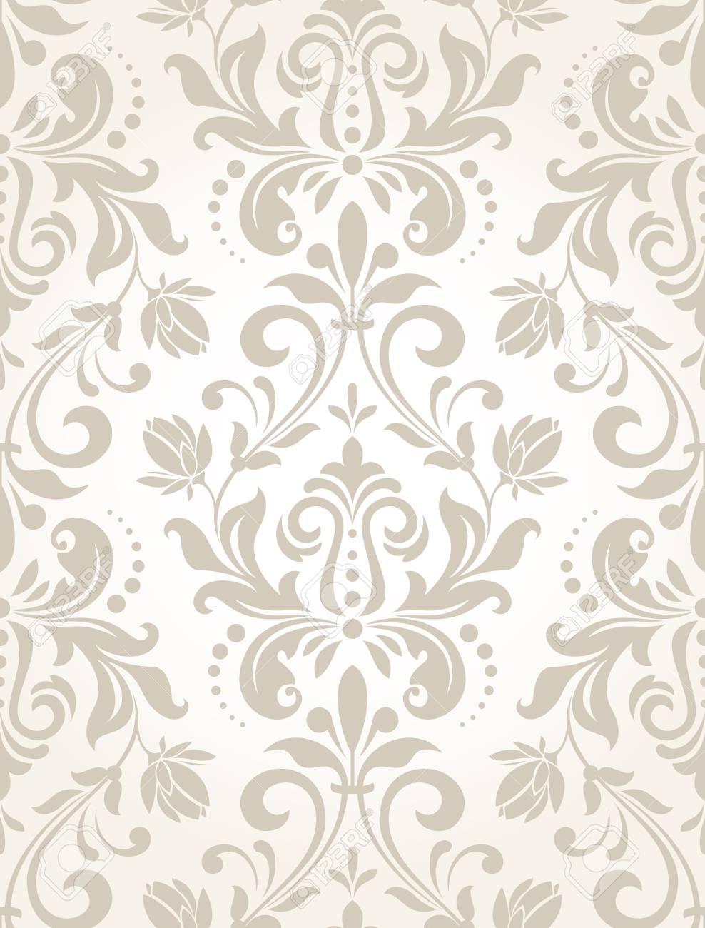 Carta Da Parati Stile Barocco.Vettoriale Carta Da Parati In Stile Barocco Uno Sfondo Vettoriale Senza Soluzione Di Continuita Ornamento Floreale Bianco E Grigio Motivo Grafico Vettoriale Image 97574790