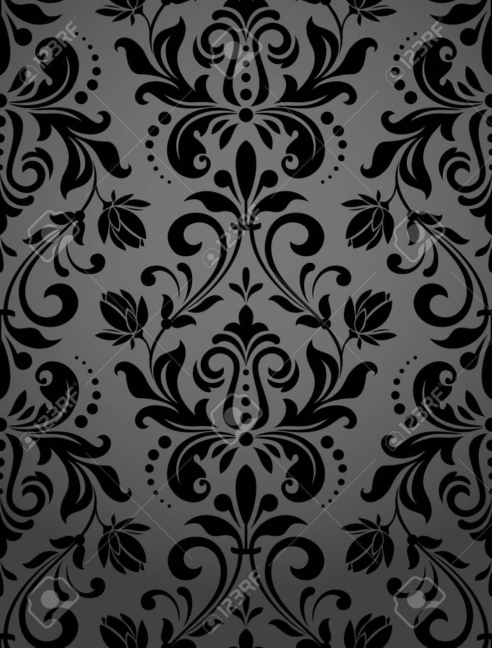 Floral pattern. Wallpaper baroque, damask. Seamless vector background. Black ornament - 97574792