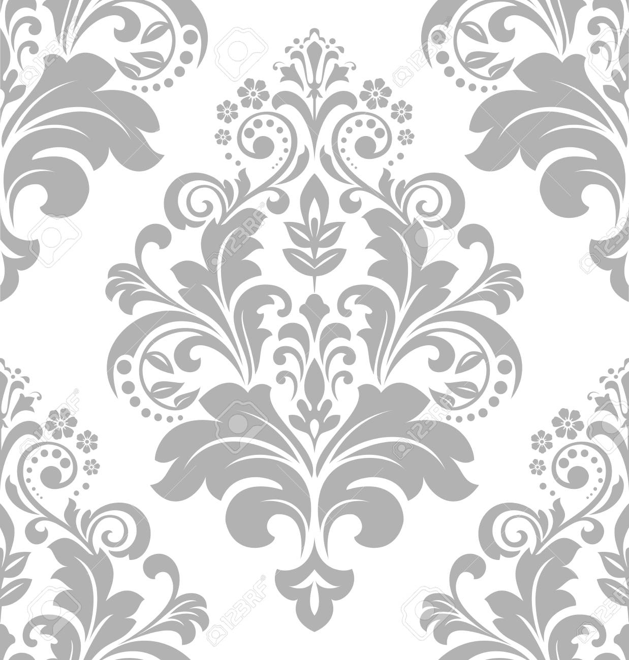 Carta Da Parati Stile Barocco.Vettoriale Carta Da Parati In Stile Barocco Uno Sfondo Vettoriale Senza Soluzione Di Continuita Ornamento Floreale Bianco E Grigio Motivo Grafico Vettoriale Image 97574828