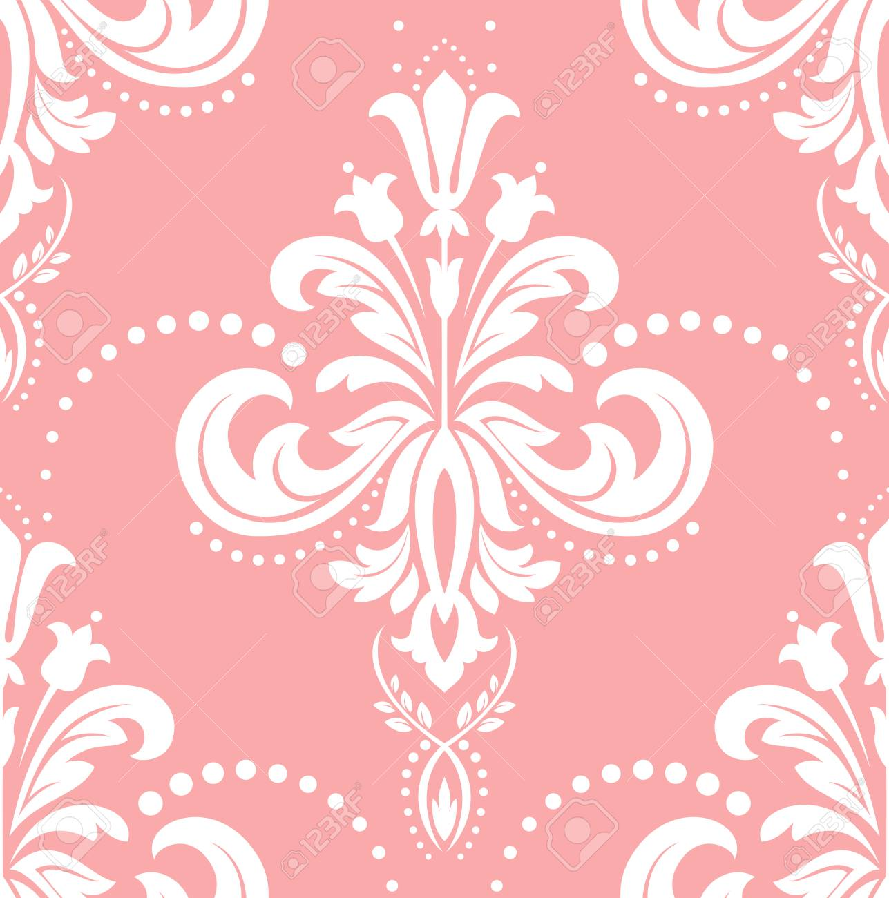 Floral pattern. Wallpaper baroque, damask.vector background. Pink and white ornament Stock