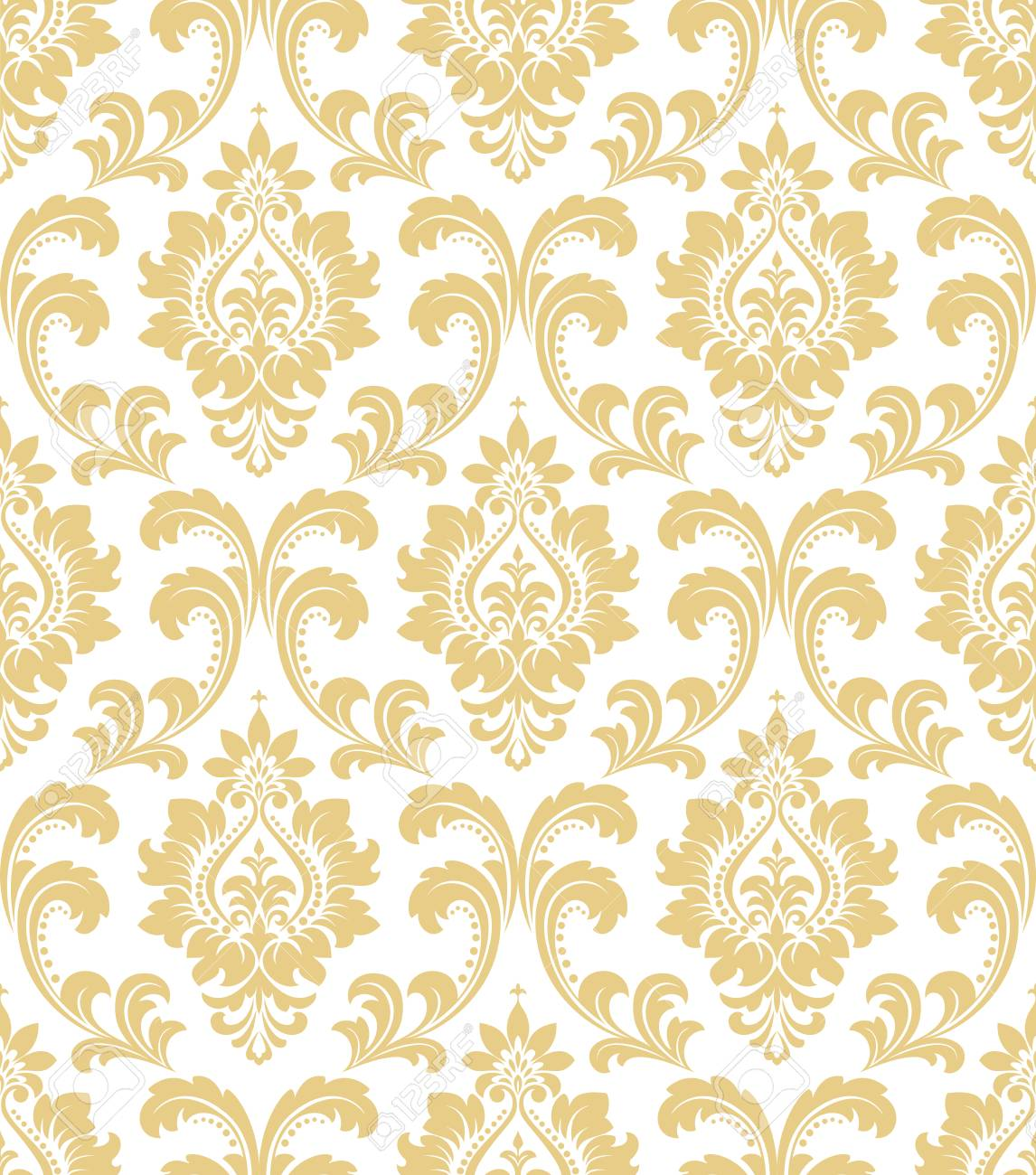 Floral pattern  Wallpaper baroque, damask  Seamless vector background