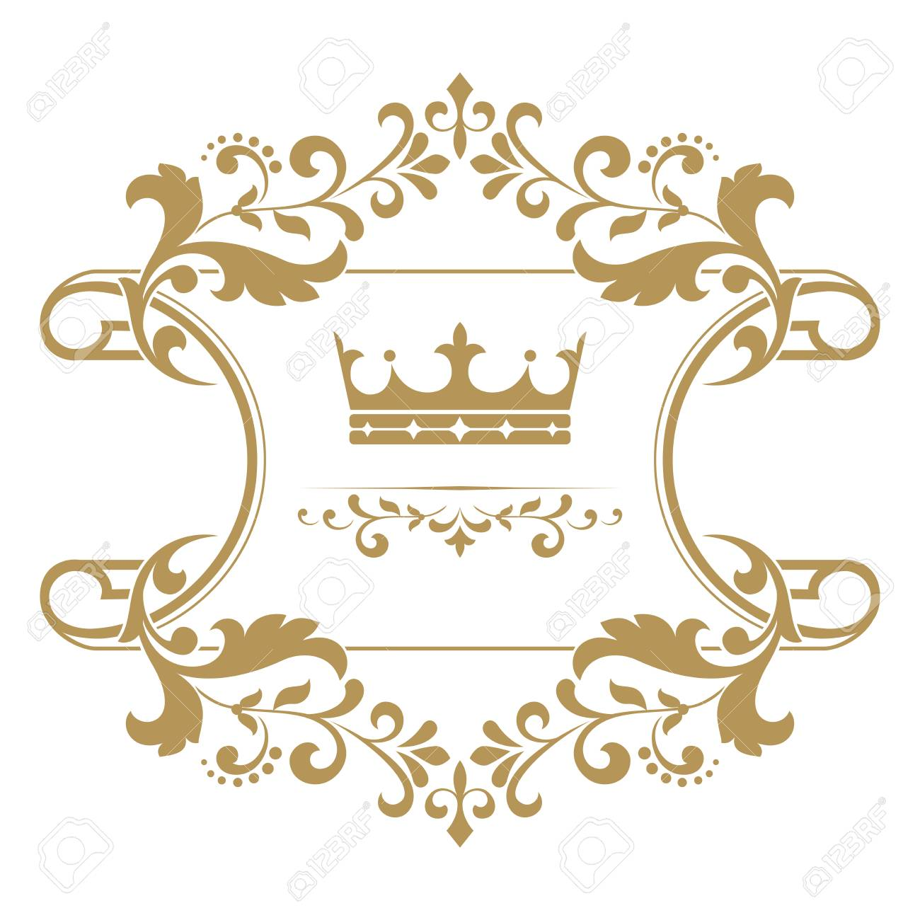 Gold Crown In A Vintage Frame On White Background Stylish Vector Graphic Design