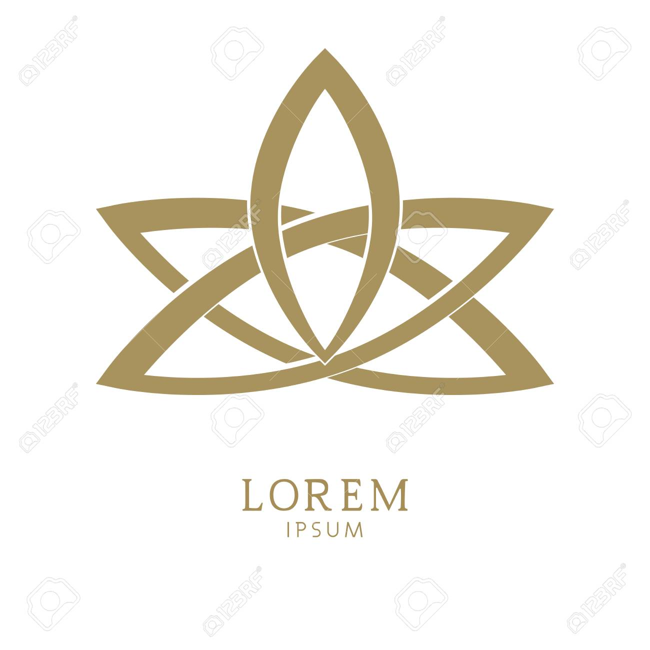 Vector Logo Design Template And Logo In Gold Color On A White