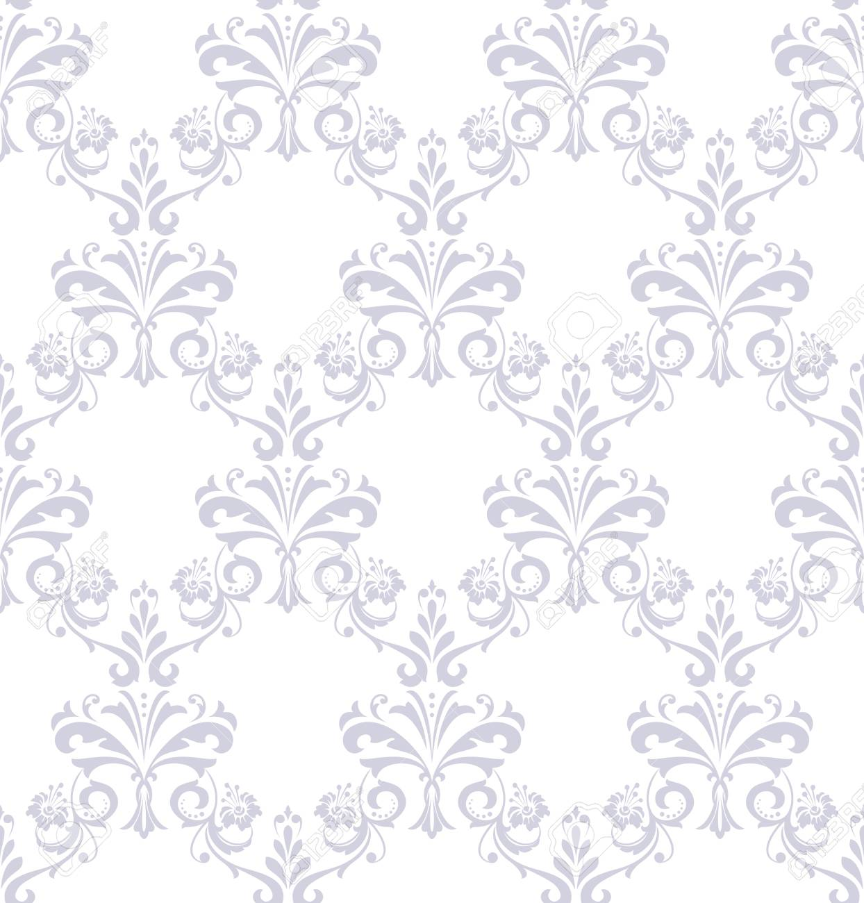 Floral Pattern Vintage Wallpaper In The Baroque Style Seamless Vector Background White And Grey Ornament For Fabric Wallpaper Packaging Ornate